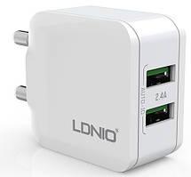 Адаптер мережевий Ldnio Micro USB cable A2201, 2USB, 2.4 A, білий