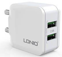 Адаптер сетевой Ldnio Micro USB cable A2201, 2USB, 2.4A, белый