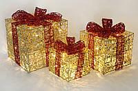 Інтер'єрний декор Новорічні подарунки (набір 3 шт) 20см, 25см, 30см
