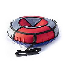 Тюбінг надувні санки ватрушка d 100 см серія Стандарт Червоно - Сірого кольору для дітей і дорослих