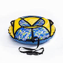 Тюбинг надувные санки ватрушка d 100 см серия Стандарт Желто - Камуфляжный цвет для детей и взрослых