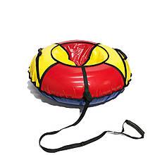 Тюбинг надувные санки ватрушка d 100 см серия Стандарт Красно - Желтого цвета для детей и взрослых