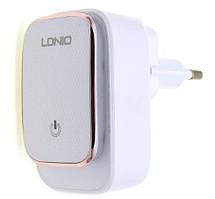 Адаптер сетевой Ldnio Micro USB Cable Touch Light A2205, 2USB, 2.4A, белый