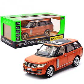 Машинка ігрова автопром «Range Rover» джип, метал, 18 см, оранжевий (світло, звук, двері відкриваються) 68263A