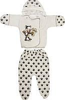 Детский тёплый костюм с начёсом рост 56 0-2 мес хлопковый футер молочный костюмчик на мальчика девочку комплект для новорожденных малышей М236