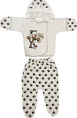 Дитячий костюм з начосом ріст 56 0-2 міс футер молочний на хлопчика дівчинку комплект для новороджених