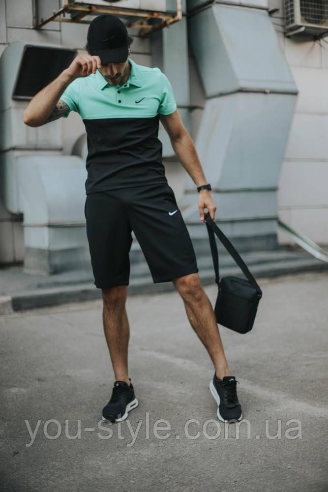 Костюм мужской Nike шорты, футболка бирюзово-черная +барсетка+кепка (Nike черное лого) в подарок