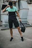 Костюм мужской Nike шорты, футболка бирюзово-черная +барсетка+кепка (Nike черное лого) в подарок, фото 1