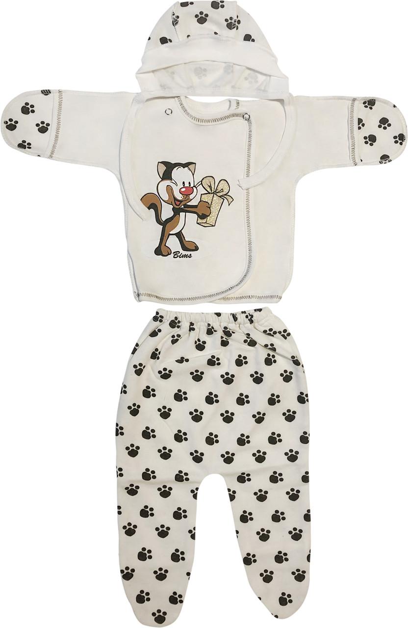 Дитячий костюм з начосом ріст 62 2-3 міс футер молочний на хлопчика дівчинку комплект на виписку для