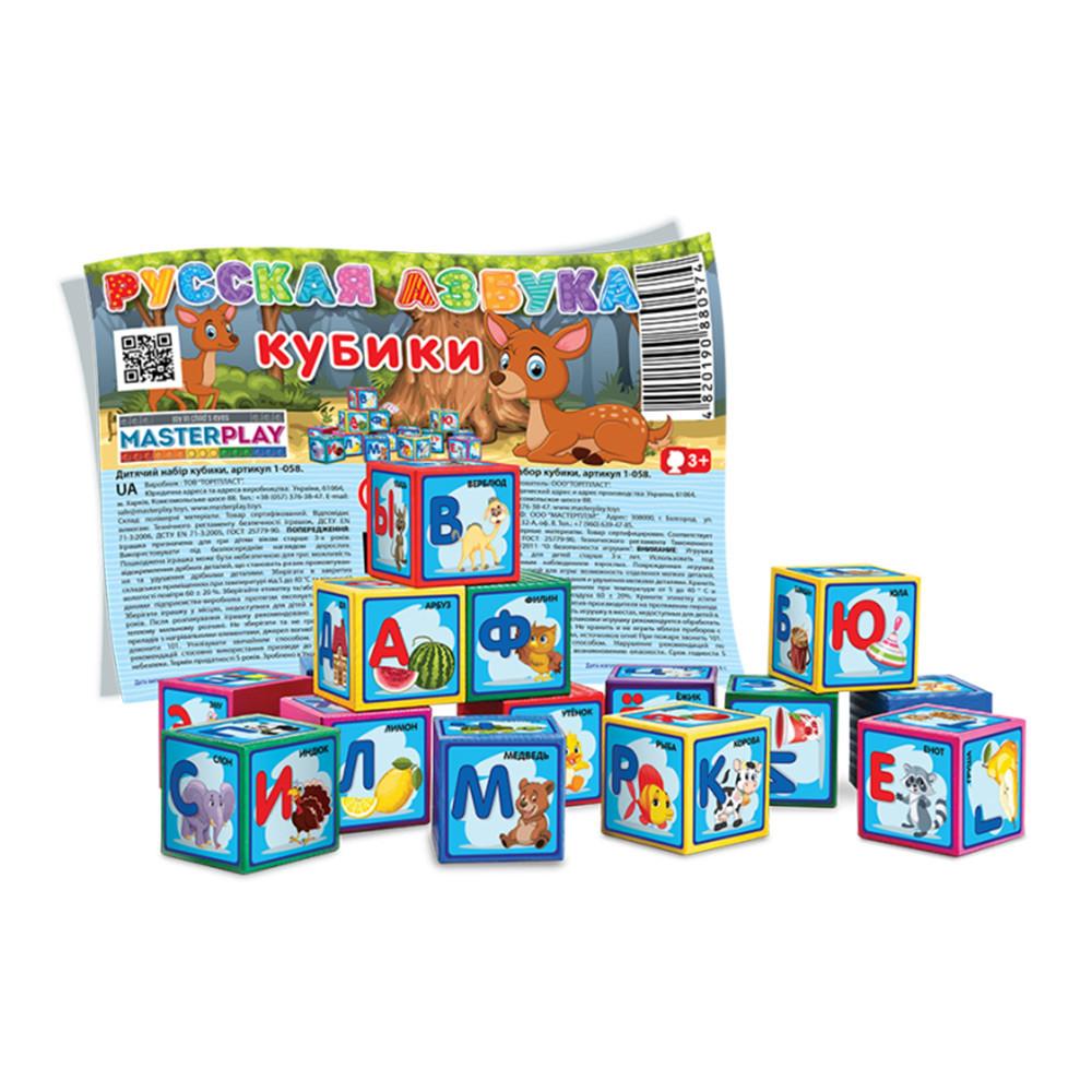 М'які Кубики Азбука, 9 деталей, в пакеті, 1-058
