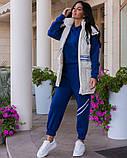 Повседневный прогулочный костюм-тройка с жилетом из лаковой плащевки,4 цвета Р-р.44-46,48-50,52-54,, Код 1091В, фото 6