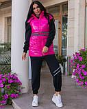 Повседневный прогулочный костюм-тройка с жилетом из лаковой плащевки,4 цвета Р-р.44-46,48-50,52-54,, Код 1091В, фото 10