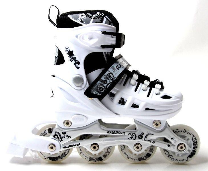 Раздвижные детские роликовые коньки Scale Sports, размер 38-41, White