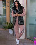 Повседневный прогулочный костюм-тройка с жилетом из лаковой плащевки,4 цвета Р-р.44-46,48-50,52-54,, Код 1091В, фото 5