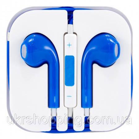 Навушники-гарнітура для телефону з мікрофоном, дротова, сині, 3.5 Jack,