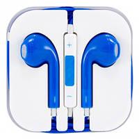 Навушники-гарнітура для телефону з мікрофоном, дротова, сині, 3.5 Jack,, фото 1