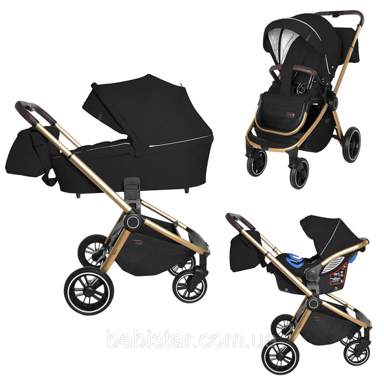 Универсальная детская коляска Carrello Epica 3 в 1 черная с автокреслом золотая рама люлька сумка дождевик