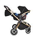 Универсальная детская коляска Carrello Epica 3 в 1 черная с автокреслом золотая рама люлька сумка дождевик, фото 3