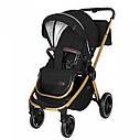 Универсальная детская коляска Carrello Epica 3 в 1 черная с автокреслом золотая рама люлька сумка дождевик, фото 2