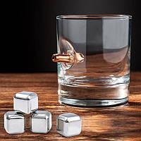 Набор для виски (стакан с пулей 7.62 мм, 4 кубика для виски)