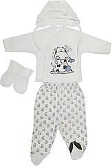Дитячий костюм з начосом ріст 56 0-2 міс інтерлок білий на хлопчика комплект для новороджених