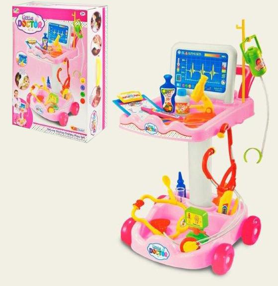 Игровой набор Доктора Медицинская тележка с инструментами 606-5 Розовый
