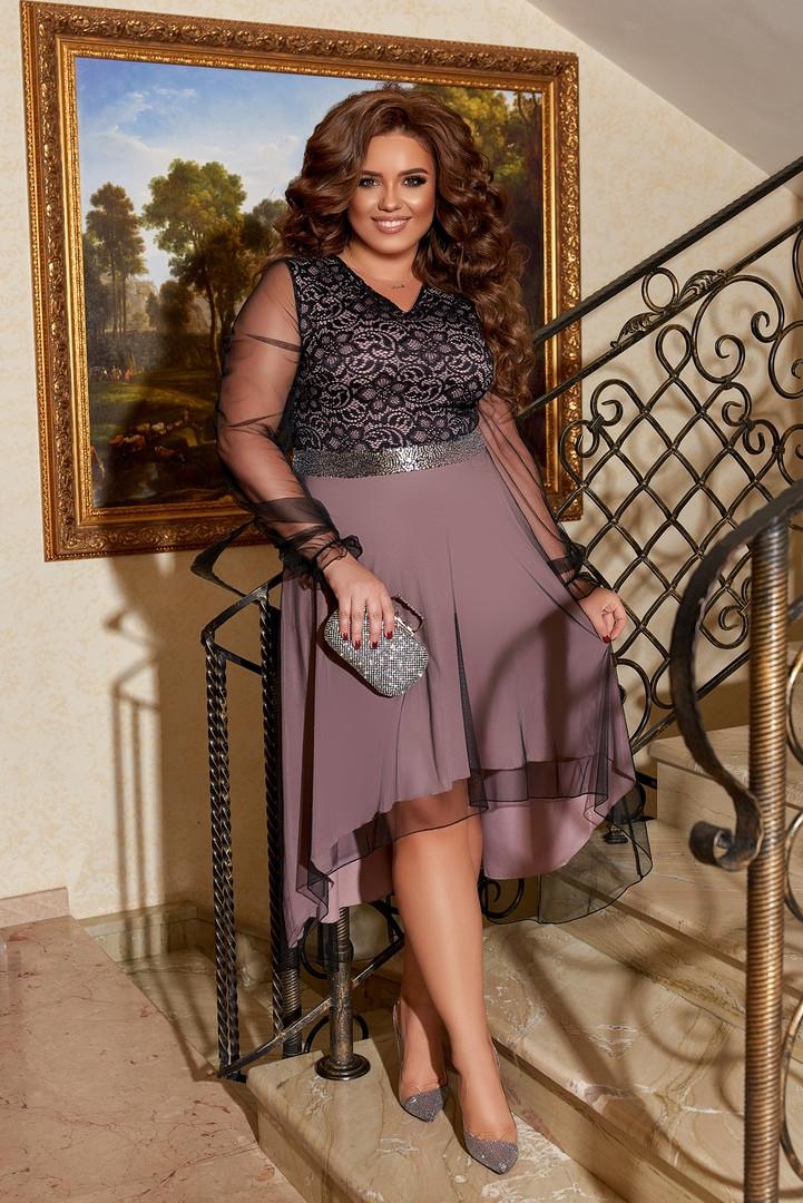 Женское вечернее платье евросетка+гипюр батал размер: 50-52,54-56,58-60