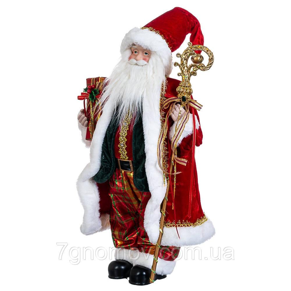 Дед Мороз под елку, фигурка под елку Санта с посохом красный 60 см