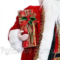 Дед Мороз под елку, фигурка под елку Санта с посохом красный 60 см, фото 2