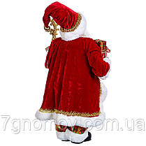 Дед Мороз под елку, фигурка под елку Санта с посохом красный 60 см, фото 3