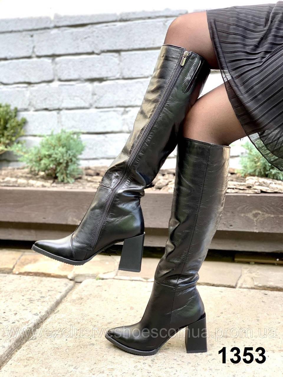 Сапоги женские деми кожаные черные на каблуке