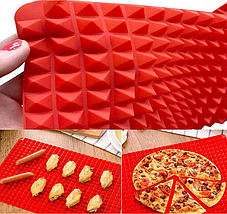 Коврик силиконовый пирамидки вафельный для жарки в духовке пирамидка для выпечки, 38*27, фото 2