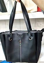 Женская молодежная черная сумка Dior из турецкой эко-кожи на молнии и с отделами на магнитах по бокам 32*30 см