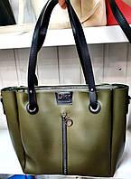 Женская молодежная зеленая сумка Dior из турецкой эко-кожи на молнии и с отделами по бокам 32*30 см, фото 1