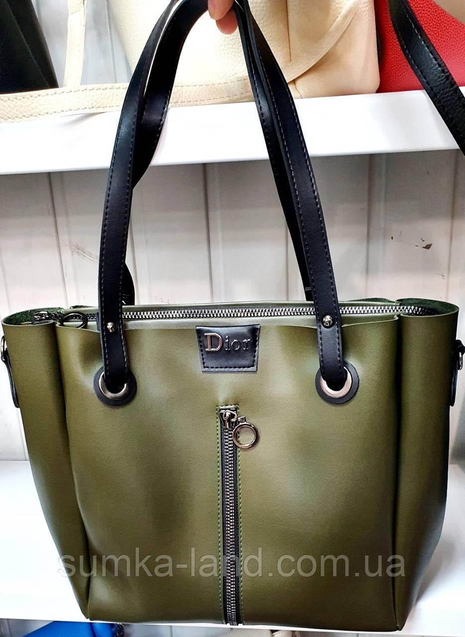 Женская молодежная зеленая сумка Dior из турецкой эко-кожи на молнии и с отделами по бокам 32*30 см