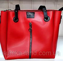 Женская молодежная красная сумка Dior из турецкой эко-кожи на молнии с отделами на магнитах по бокам 32*30 см