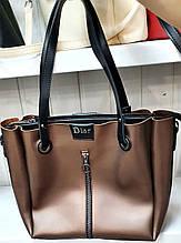 Женская молодежная бронзовая сумка Dior из турецкой эко-кожи на молнии с отделениями по бокам 32*30 см