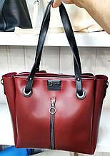 Женская молодежная бордовая сумка Dior из турецкой эко-кожи на молнии с отделениями по бокам 32*30 см