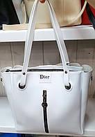 Женская молодежная белая сумка Dior из турецкой эко-кожи на молнии с отделениями по бокам 32*30 см, фото 1