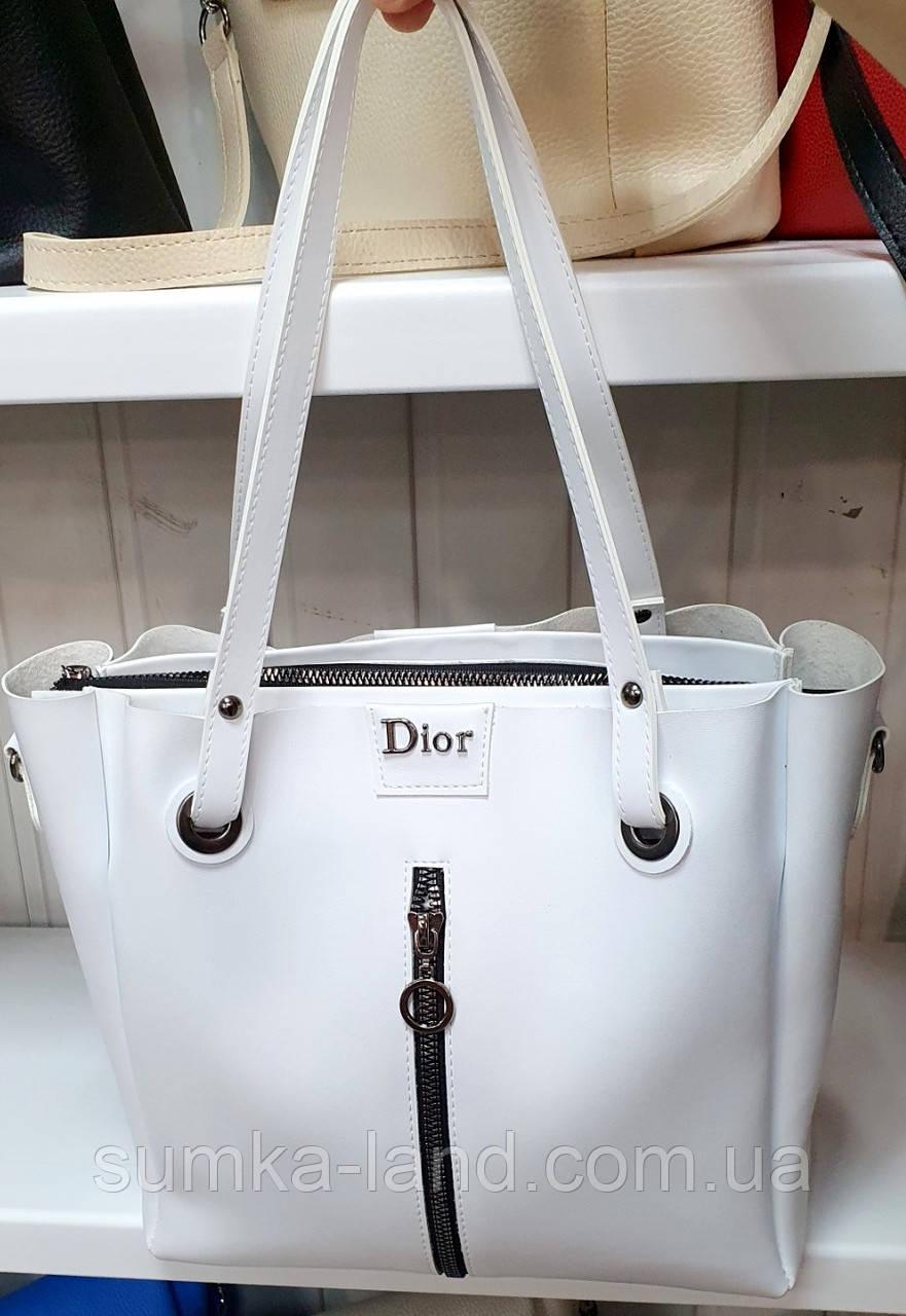 Женская молодежная белая сумка Dior из турецкой эко-кожи на молнии с отделениями по бокам 32*30 см