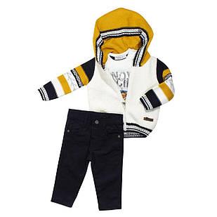 Теплий костюм з 3-х одиниць для хлопчика, розміри 9, 12 міс., 2 роки