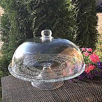 Тортовница стеклянная с крышкой-куполом на ножке HLS (6845), фото 1