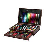 Набор для рисования 123 предмета в деревянном чемодане детский Mega Art Set, фото 2