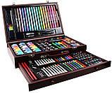 Набор для рисования 123 предмета в деревянном чемодане детский Mega Art Set, фото 5