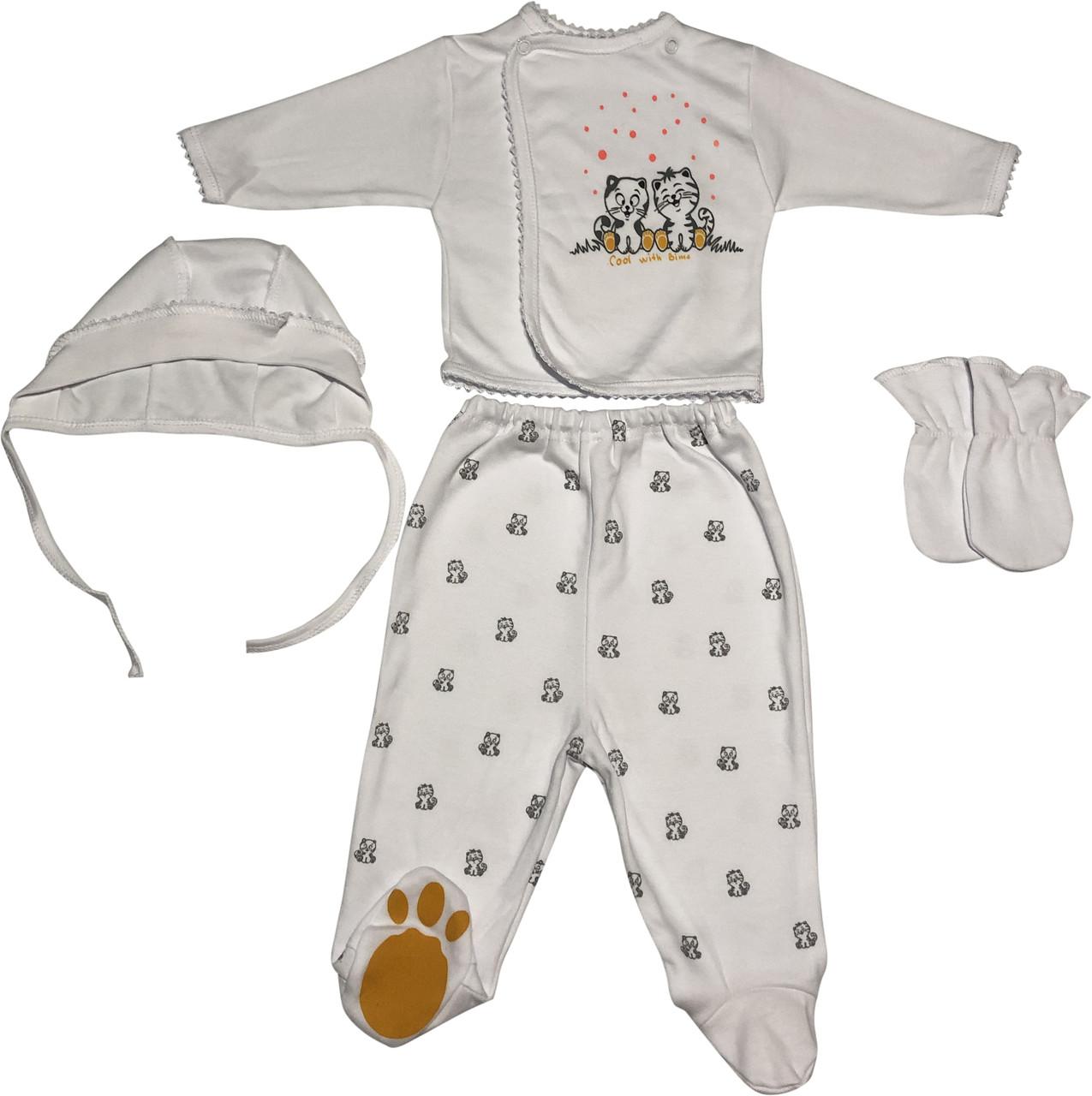Дитячий костюм зростання 56 (0-2 міс.) інтерлок білий на дівчинку (комплект на виписку) для новонароджених