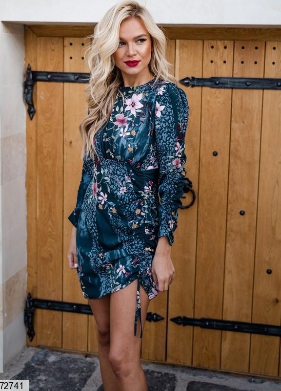 Н. S-M, L-XL Міні сукні зі шнурівкою на спідниці в квітковий принт