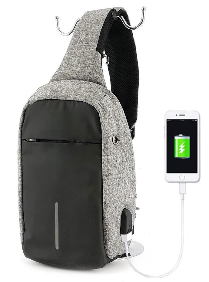 Рюкзак Bobby однолямочный через плечо с USB зарядным и портом для наушников серый (13928)