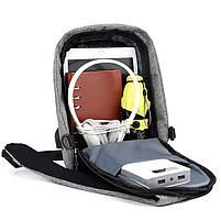 Рюкзак Bobby однолямочный через плечо с USB зарядным и портом для наушников серый (13928), фото 3