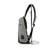 Рюкзак Bobby однолямочный через плечо с USB зарядным и портом для наушников серый (13928), фото 4
