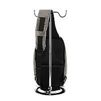 Рюкзак Bobby однолямочный через плечо с USB зарядным и портом для наушников серый (13928), фото 5
